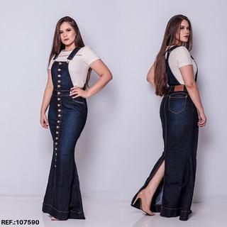 Salopete Jeans Longa Frt - Jardineira Jeans Longa