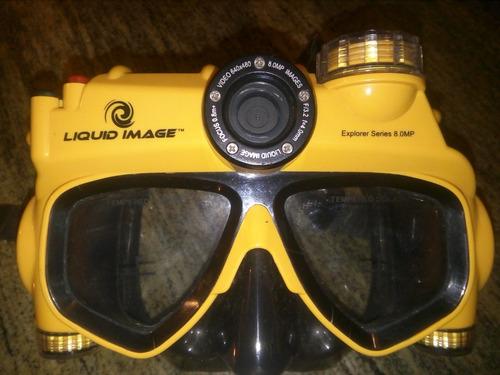 Imagen 1 de 6 de Careta Para Snorkel Con Camara De 8.0 Mpx Marca Liquid Image