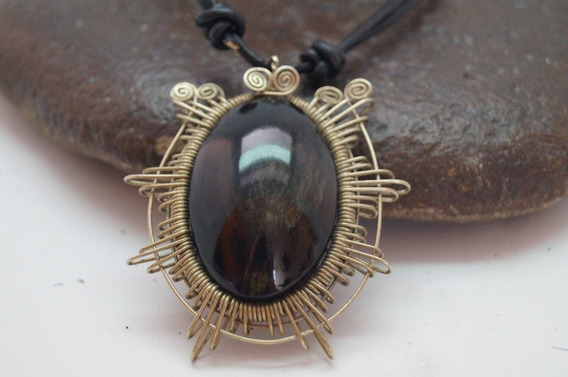 Collar %100 Artesanal, Alambre Oxidiana Piel