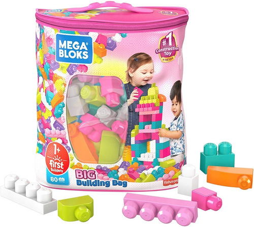 Mega Bloks 80 Piezas Bolsa De Bloques De Construcción - Rosa