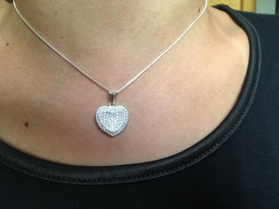 Corrente Prata 925 Coração Cravejado De Zirconia