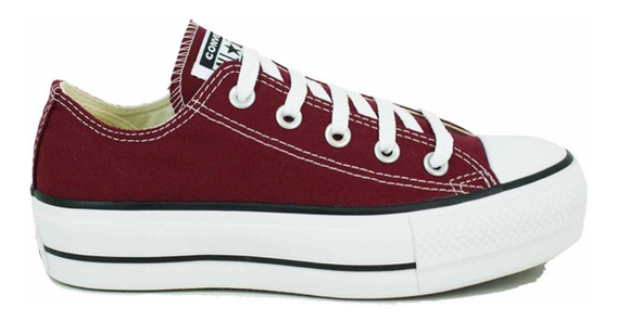 Zapatillas Converse All Star Plataforma Color Bordo De Mujer