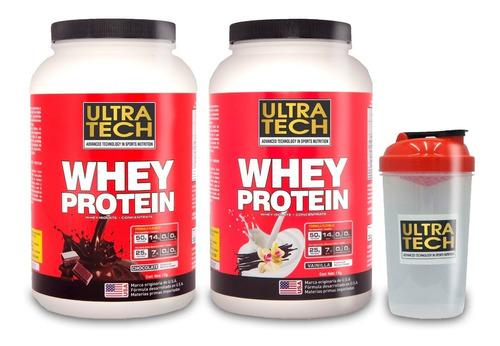 Whey Protein Ultra Tech Promo 2 Potes X 1 Kg C/u + Shaker De Regalo Proteína De Suero Alta Concentración