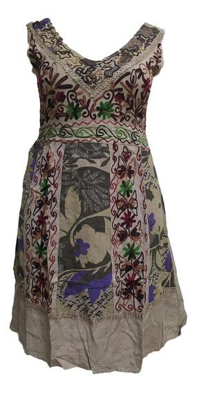 Vestido Indiano Curto Regata Bordado Moda Boho - Cod. 501