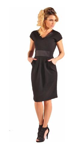 Vestido De Vestir Negro Crepe Con Raso Giacca