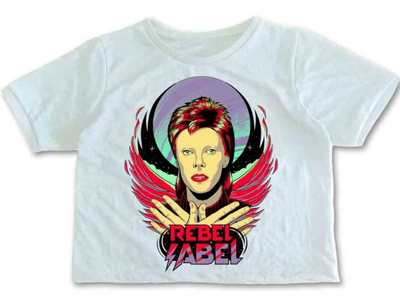 Crop Top Mujer David Bowie Estampado Rock Rebel Label