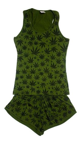 Pijama Feminino Cannabis Maconha Blusa Alça Short Verde