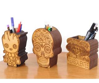 Lapiceras Grabadas En Madera Mdf (paquete Con 3 Lapiceras)