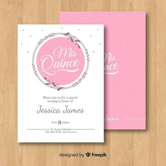 Invitacion Tarjeta Imprimible 15 Años Casamiento M128