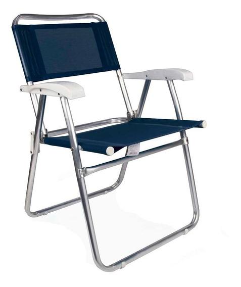 Cadeira De Praia Alumínio Master Azul Reforçada Mor Dobrável