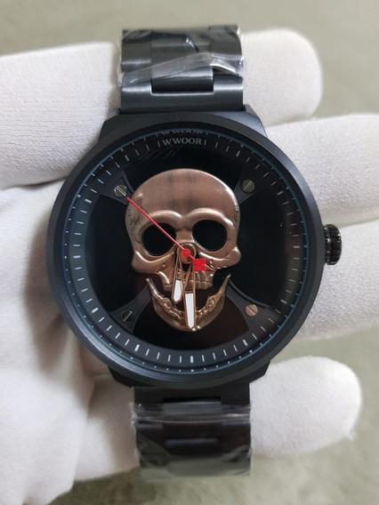 Relogio Wwoor Caveira Cranio Skull Bronze 2019 Com Caixa