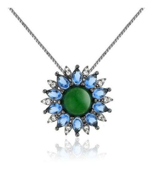 Colar Com Cristal Quartzo Verde E Zirconias -melhor Preço