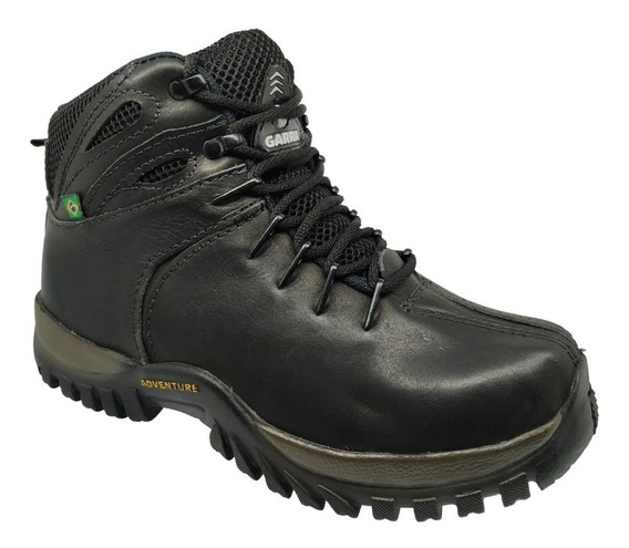 Bota Botina Coturno Em Couro Sapato Casual + Palmilha Gel