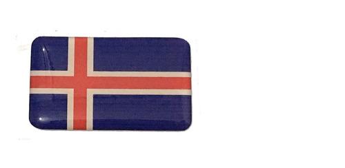 Adesivo Resinado Bandeira Da Islândia 5x3 Cm