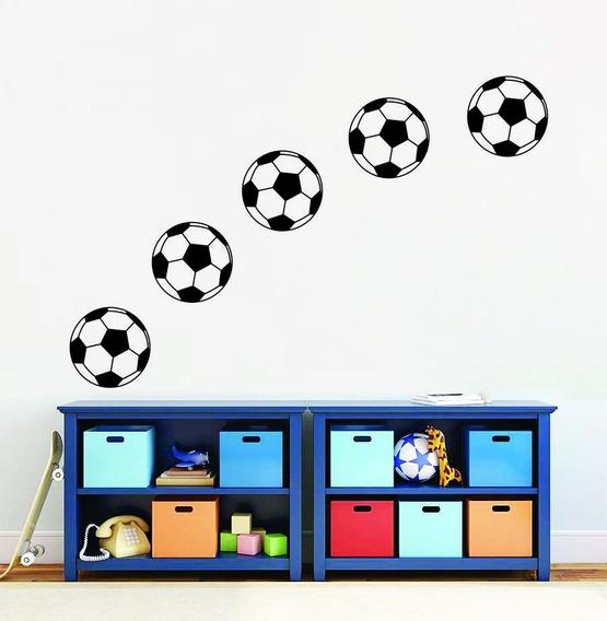 Adesivo Parede Bola Futebol Goleiro 5 Bolas De 20x20 Cm