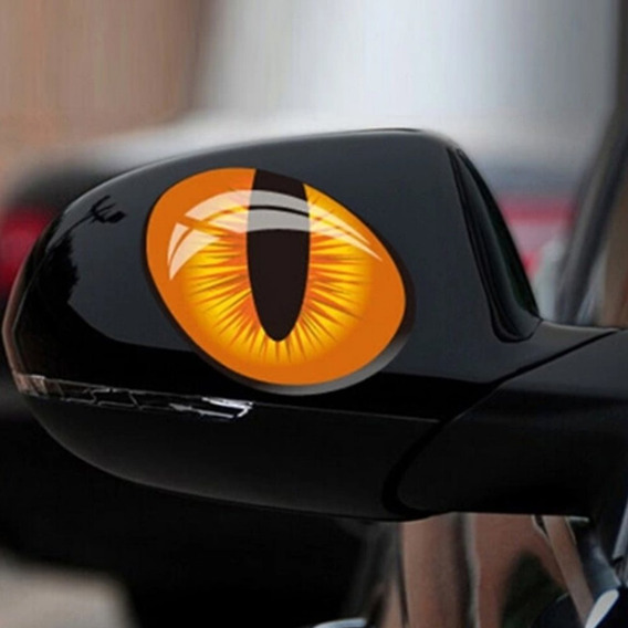 2pcs 3d Olhos Gato Adesivo Carro Simulação Reflexo Espelho