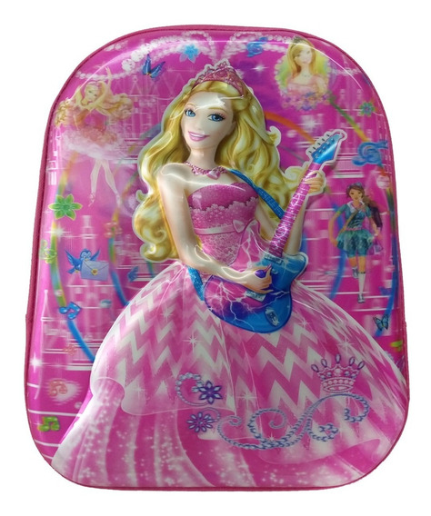 Mochila Infantil Barbie Alto Relevo 3d Escolar Para Meninas