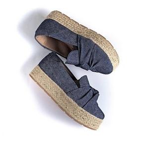 Tênis Feminino Flatform Slip On Jeans Corda Frete Grátis