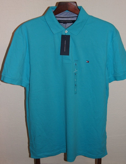 Tommy Hilfiger Playera Polo Talla L Color Azul Turquesa