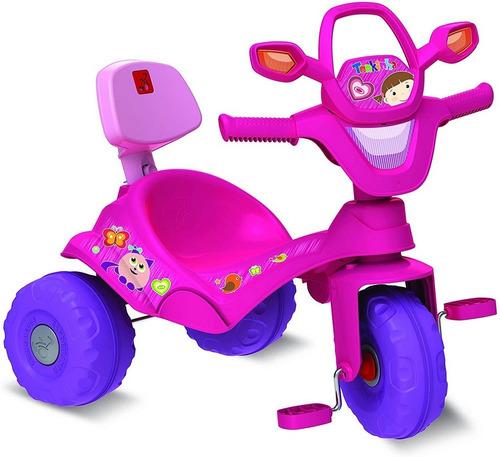 Triciclo Tonkinha Rosa Passeio Pedal Haste Removível