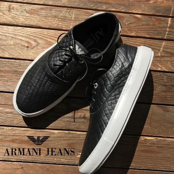 Tênis Sapatênis Armani Jeans Casual Couro Croco Legítimo