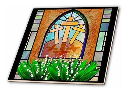 3drose Ct Un Colorido Vitral De La Cruz De Jesus En