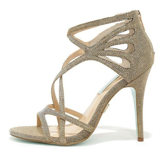 Zapatos Zapatillas Tacones Betsey Johnson Talia Color Oro