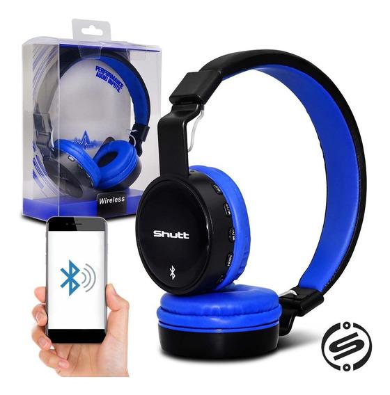 Fone De Ouvido Headphone Basic Wireless P2 Preto Azul Shutt