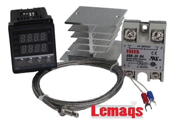 Controlador Temperatura Relé 40a Sensor Tipo K Dissipador