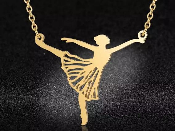 Colar Bailarina Dourado Arabesque