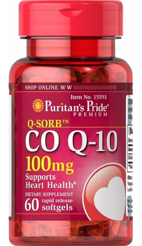 Imagen 1 de 1 de Coenzima Co Q-10 100mg 60 Softgel Importado Usa