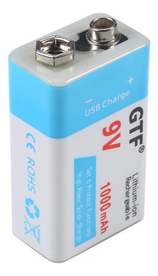 Bateria 9v Recarregável Lithium 1000mah Gtf