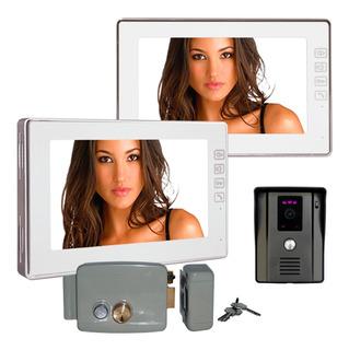 Kit Videoportero 2 Monitores Pantalla 7 Pulg Frente Y Chapa
