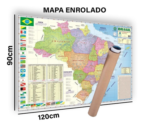 Mapa Brasil Grande Politico Rodovia 120x90 Cm Enrolado Atual