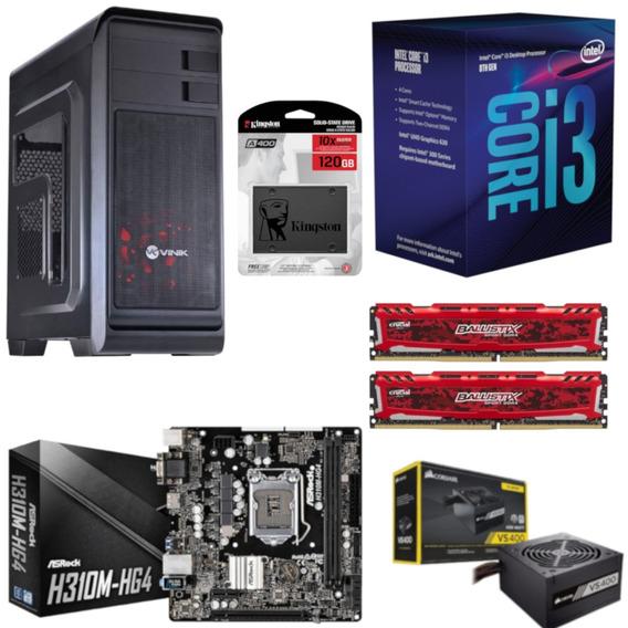Pc Hunter Intel I3 8100 Mb H310m Hg4 Bl 16gb Vs400 Ssd 120gb