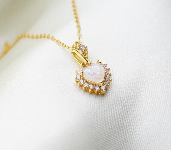 Colar C/pingente Em Forma Coração Em Pedra Opala,banho Ouro