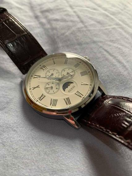 Relógio Guess Masculino W0870g1 Pulseira De Couro