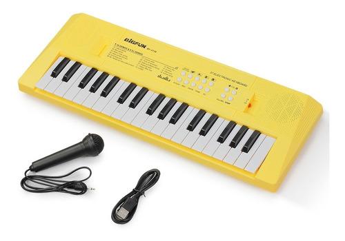 Imagem 1 de 3 de Teclado Infantil Standard 37 Teclas Usb Amarelo C/ Microfone