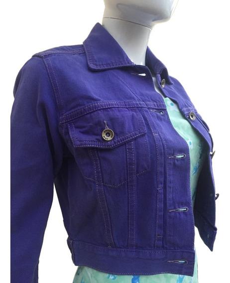 Jaqueta Jeans Feminina Colorida Curta