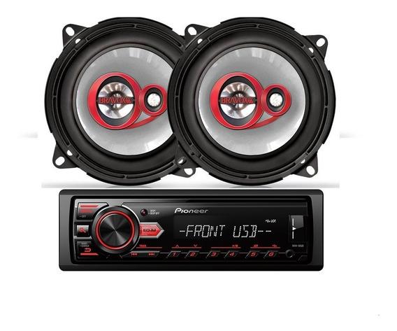 Kit Auto Rádio Pioneer Mvh-98ub+alto Falante Bravox B3x50x