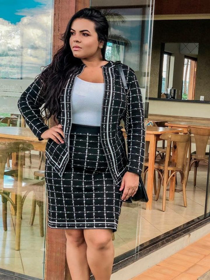 Conjunto De Saia E Casaco De Tricot Trico Plus Size Quadricu
