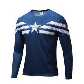 Camisa Camiseta Super Heróis Capitão América Manga Longa