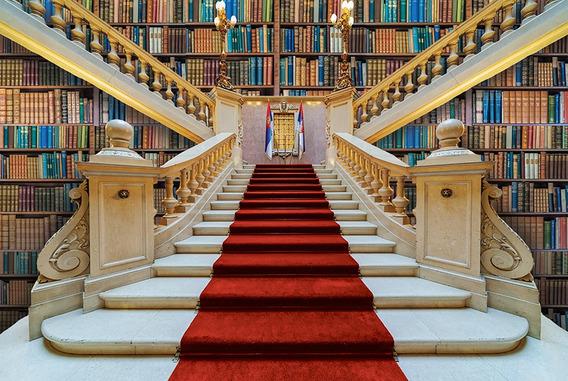 Fundo Fotográfico Tecido 3d Escadaria Biblioteca 3,00x1,70m