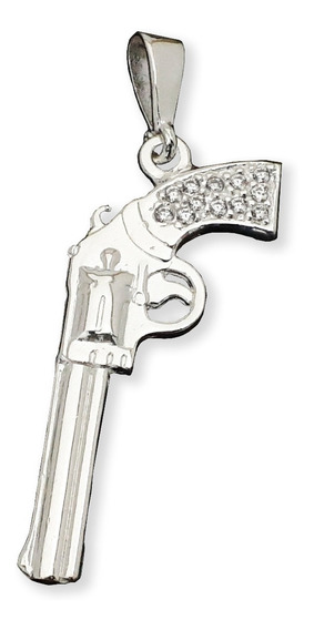 Dije Revolver Malverde En Plata .925 Con Zirconia Taxco Gro