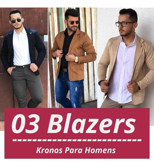 Kit Com 03 Blazers Slim Masculino - Pronta Entrega