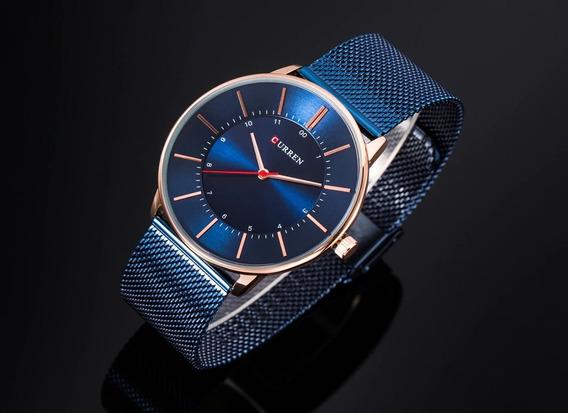 Relógio Masculino Curren Analógico Pulseira Esteira - Azul