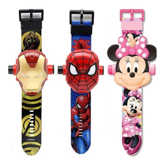 Reloj Proyector 3d Spiderman Cars Paw Patrol Iron Man Niño