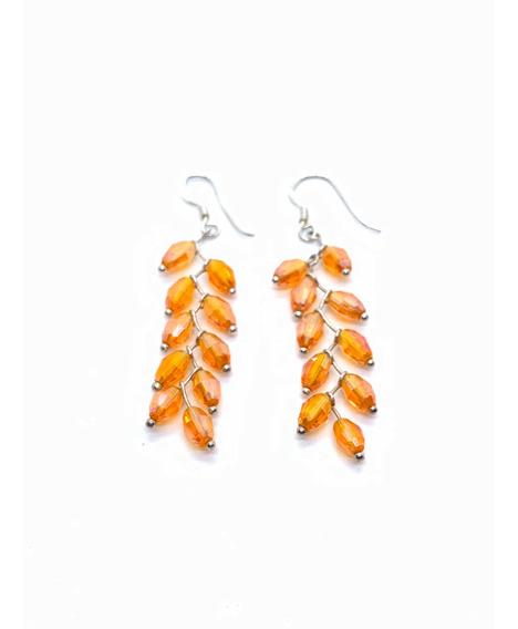 Aros Colgantes Cristales Naranja Plata 925 (h221)