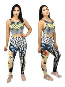 Calça Legging + Top / Blusa Mulher Maravilha Estampa Fitness