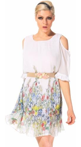 Vestido Blanco Talla M De Gasa Plisada Nuevo Importado